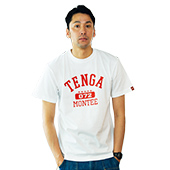TENGA×montee COLLEGE-TEE White×WineRed 5th anniversary