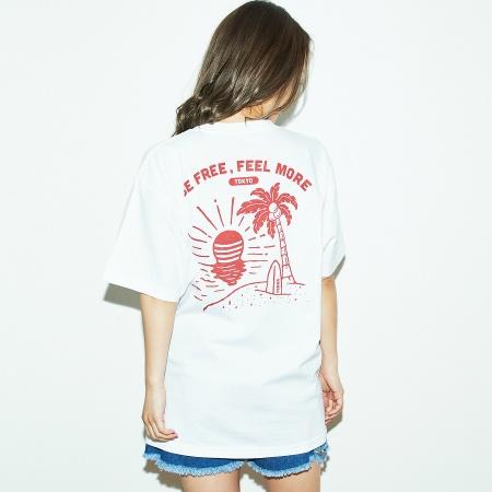 TENGA サンセット Tシャツ 白×ボルドー