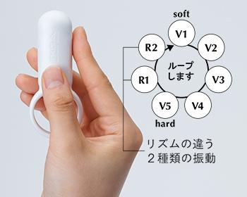 ワンタッチ操作で5段階の強弱振動と2種類のリズム振動