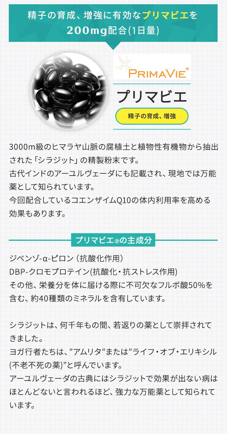 精子の生育、増強に有効なプリマビエを200mg配合(1日量)