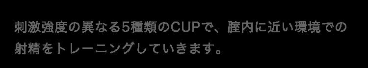 刺激強度の異なる5種類のCUPで、腟内に近い環境での射精をトレーニングしていきます。